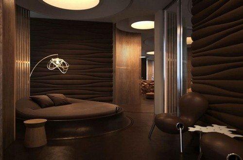 Современная комната отдыха, выполненная в шоколадном цвете