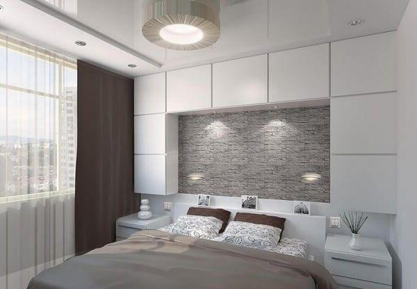 современная спальня с белым освещением