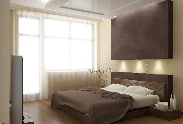 Современный интерьер спальни 12 кв м с балконом