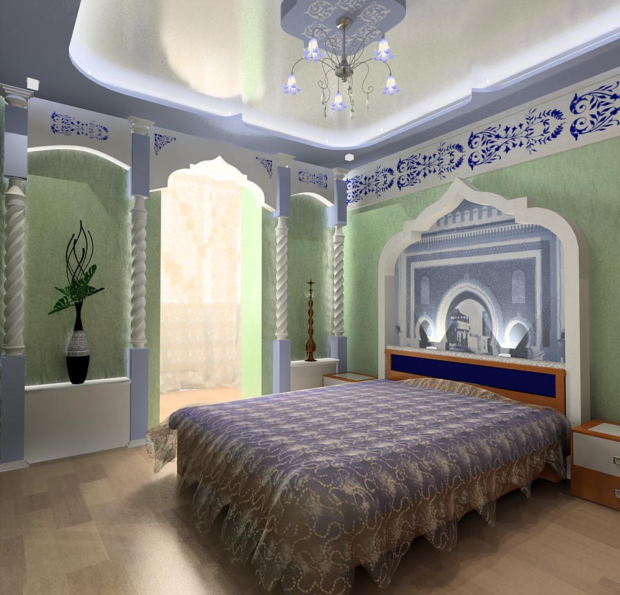 Современный интерьер спальни в восточном стиле.