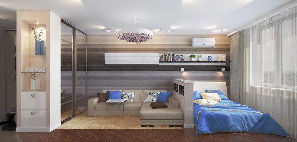 Спальня - гостиная 17 кв м: трехмерная визуализация