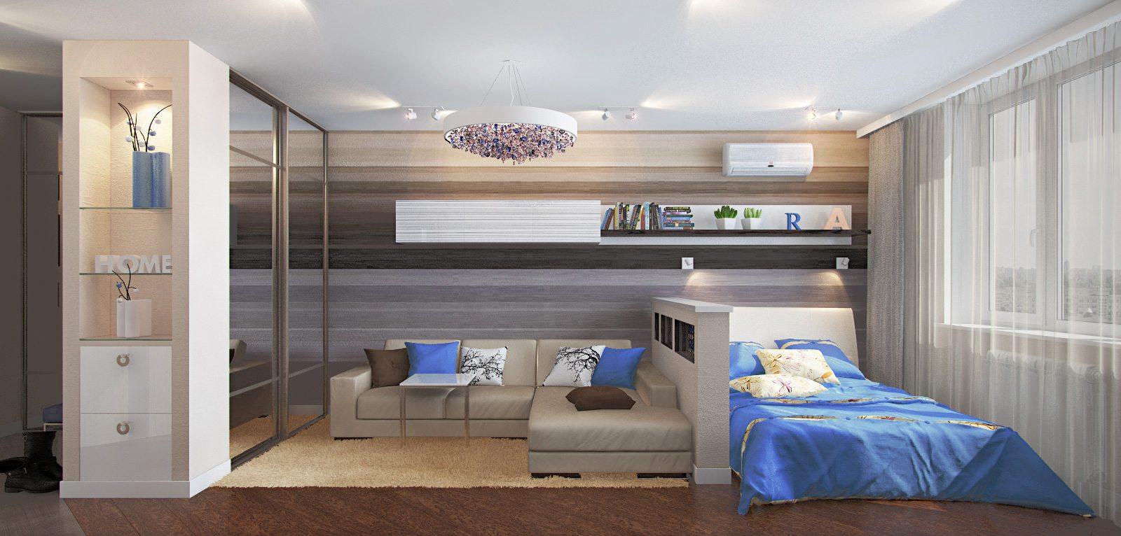 Дизайн гостиная спальня 18 кв.м фото