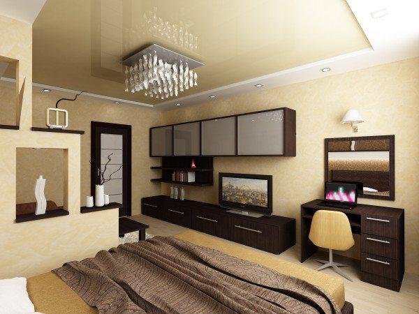 Спальня 19 кв м: дизайн объединяющий сразу три зоны – кабинет, гостиную, место отдыха