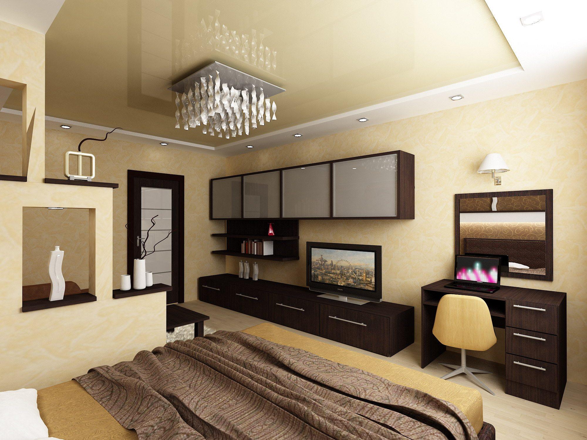 Дизайн спальни с зонированием