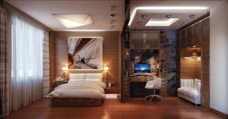 Спальня-кабинет в загородном доме