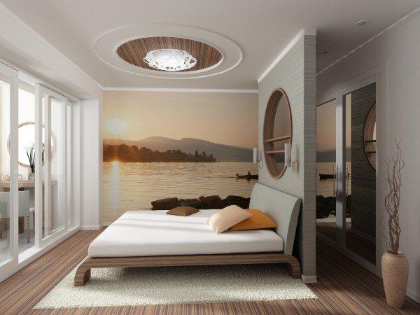 Спальня, отделанная фотообоями – отличный вариант скомпоновать пространство.