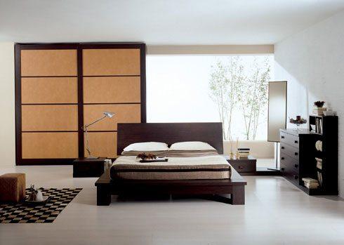 Спальня с использование различной мебели