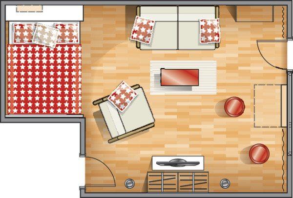 Спальня с кроватью и удобным матрасом находится в нише.