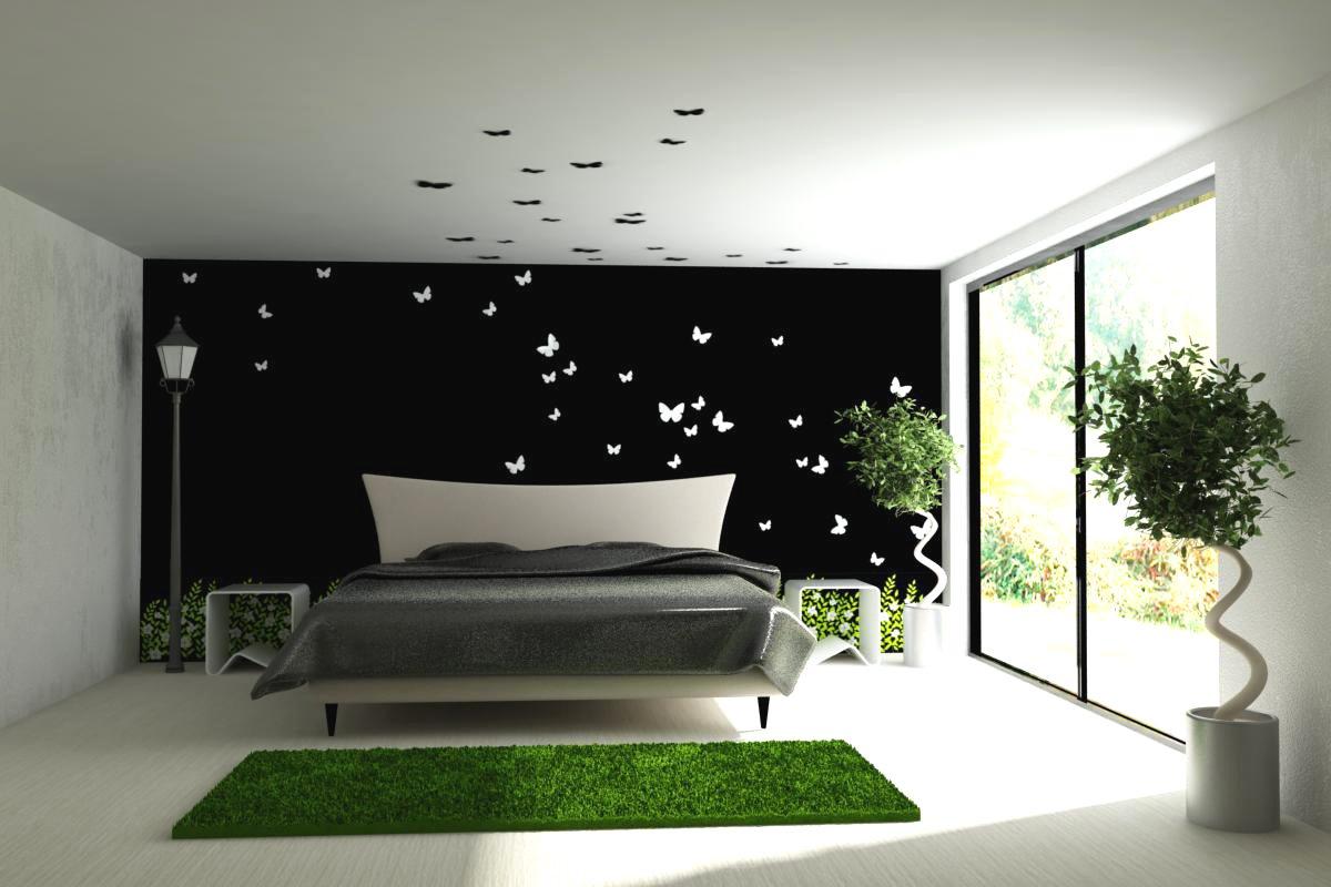 Спальня в элегантном и сдержанном стиле хай-тек с двумя одиночными растениями.