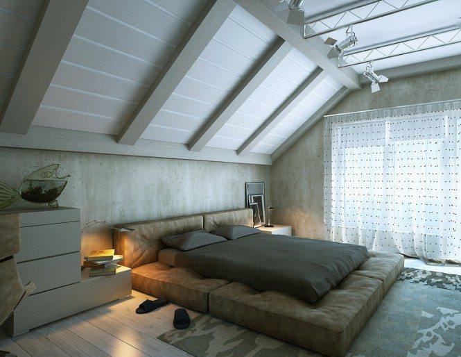 Спальня в современном минималистском стиле, для оформления которой использовались светлые тона.