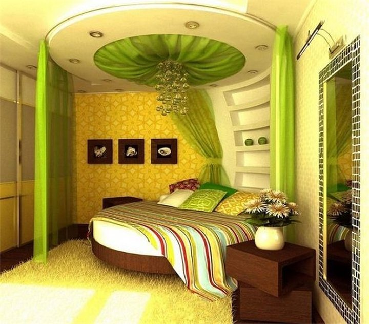 Спальня в зелено-желтых тонах