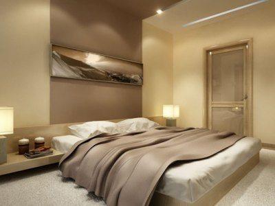 Спокойный и уютный интерьер спальни в бежево-коричневых тонах