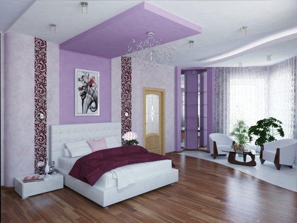 Способ сложного зонирования спальни, где использовался неодинаковые обои и полы, а также различные уровни потолка.