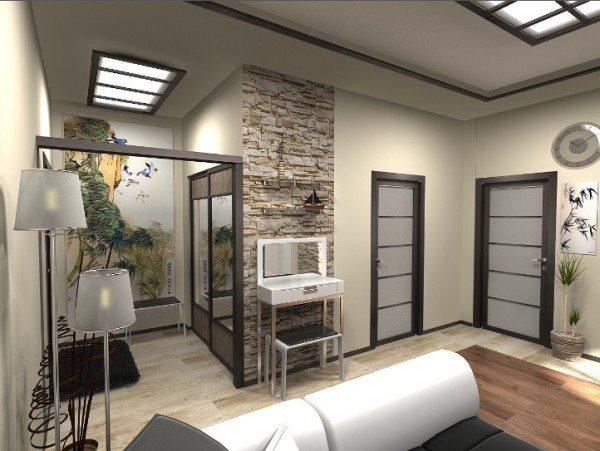 Стиль оформления повторяется в форме дверей и подвесных светильников, что визуально увеличивает площадь