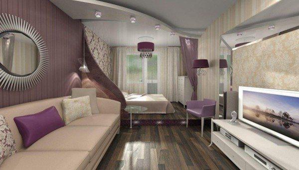 Стильный и удобный дизайн гостиной спальни 20 кв м.