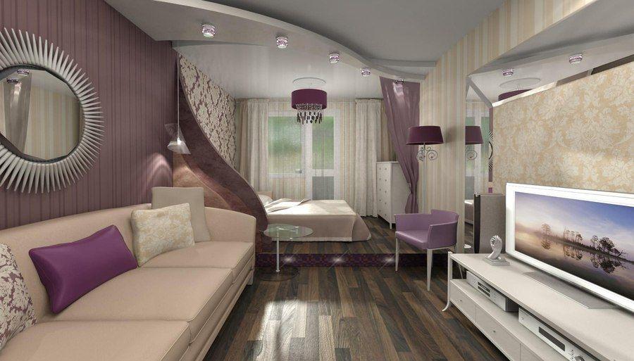 Дизайн спальни в гостиной 18 кв.м
