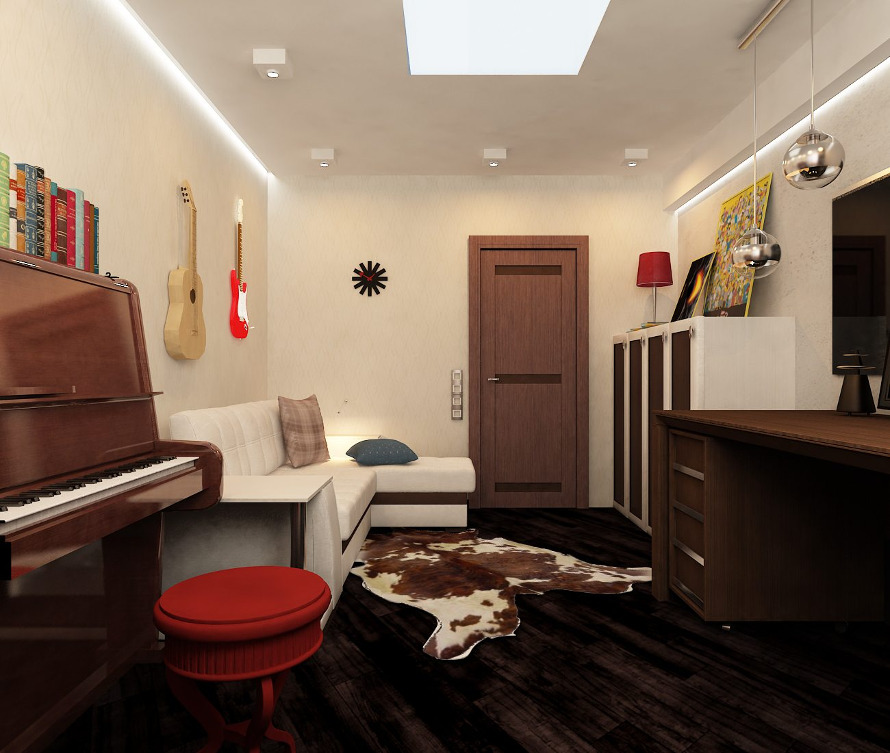 Стильный кабинет в спальне