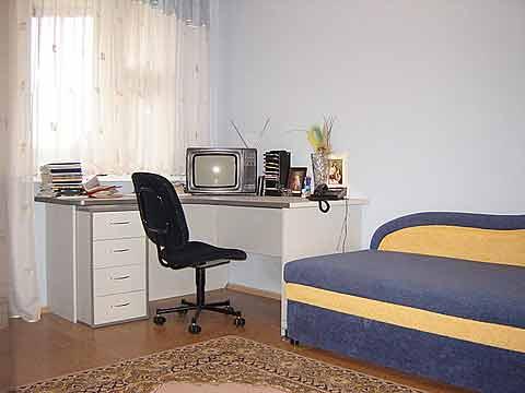 Стол и кресло, формирующие зону кабинета