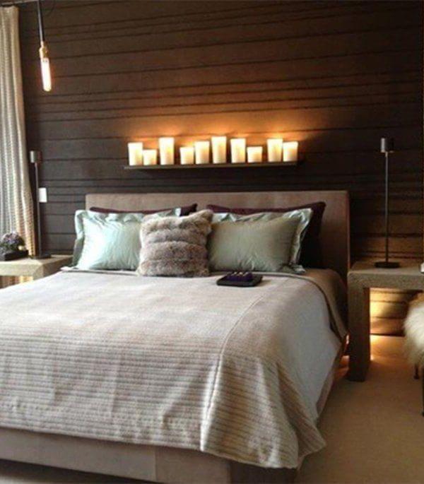 свечки над кроватью для романтической пары