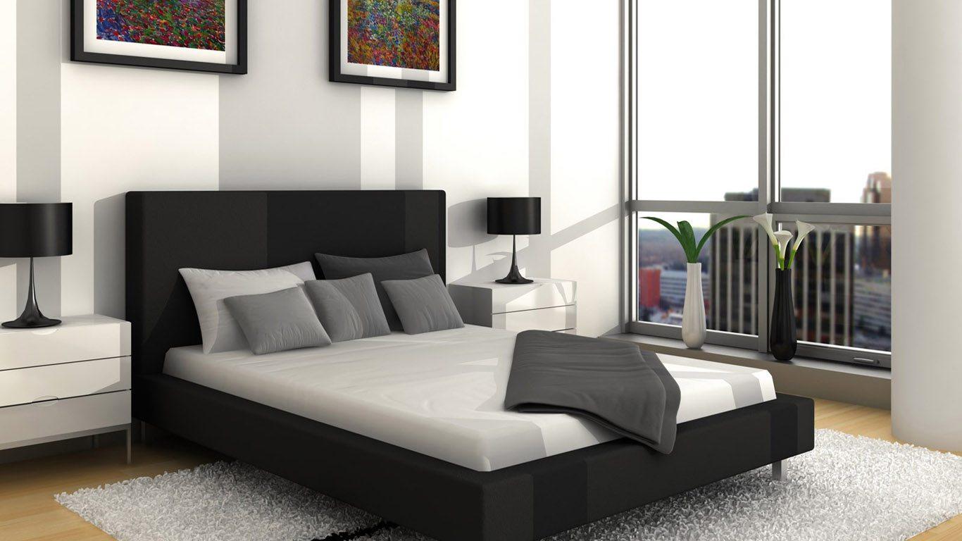 Светло-серые стены, черная мебель – стильное сочетание.