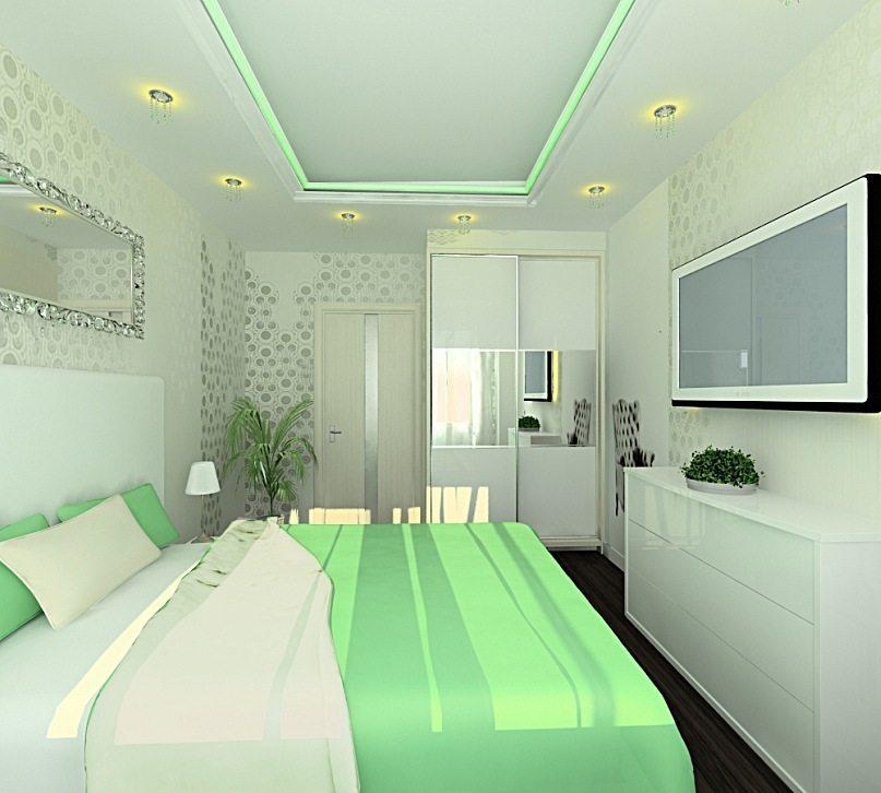 Светло-зеленые стены в спальне, подсветка на потолке, белоснежные предметы мебели – стремимся к гармонии во всем.