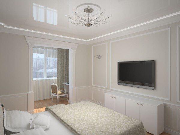 Светлый интерьер спальни с балконом
