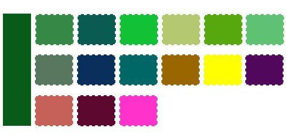 Таблица оттенков, сочетаемых с темно-зеленым колером