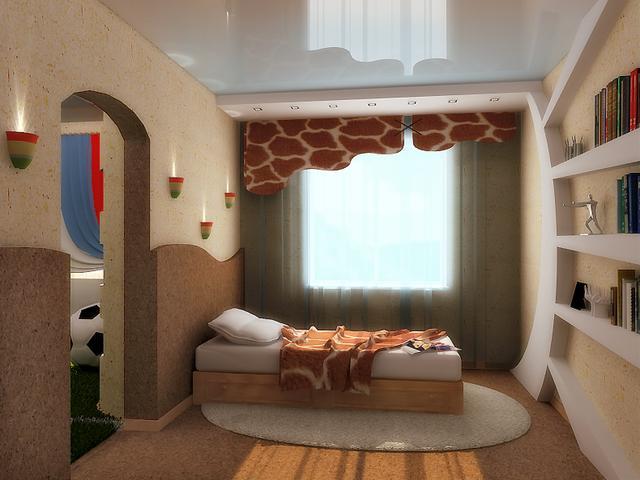 Теплые и контрастные цвета в интерьере спальни