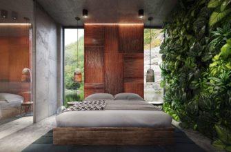тропические растения в спальне