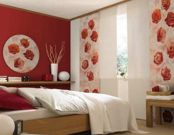 Цветовая гамма японских панелей для спальни включает основные природные оттенки.