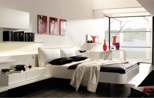 Умеренное использование яркого цвета придает спальне шик и изыск.
