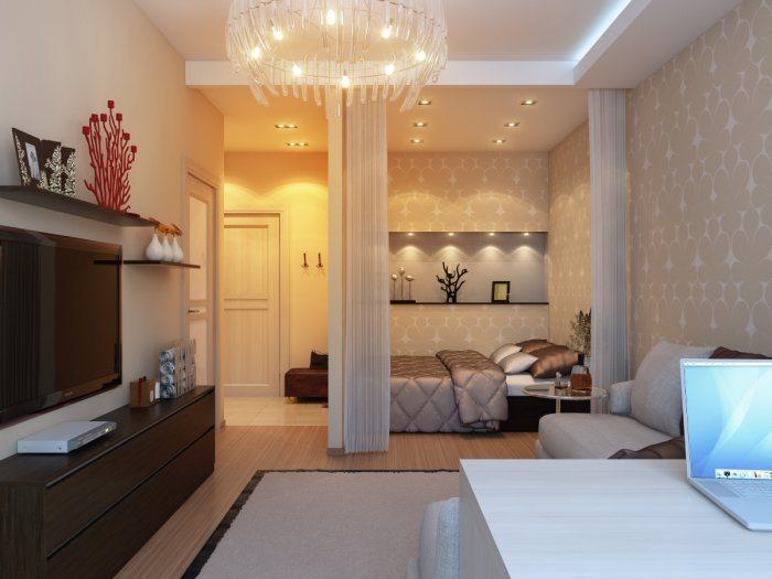 Уютная спальня в нише однокомнатной квартиры.