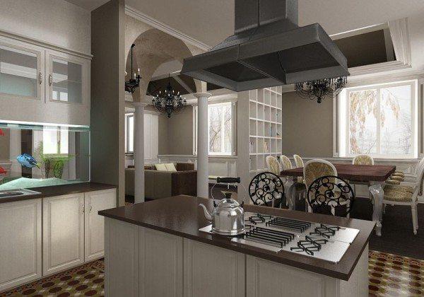 В частном коттедже можно идеально совместить кухню и столовую