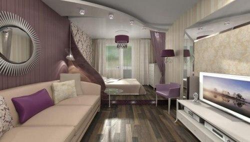 В дизайне этой комнаты использовались все способы зонирования: и подиум, и освещение, и цвет