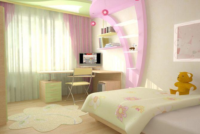 В этом дизайн-проекте отчетливо видно зонирование спальни