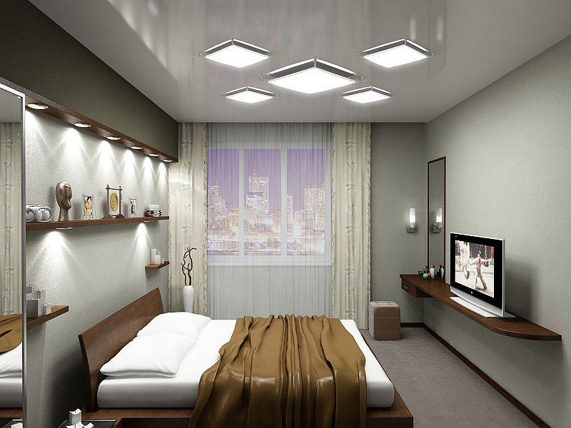 В спальне без окон должно располагаться больше осветительных приборов, чем в обычной комнате отдыха.