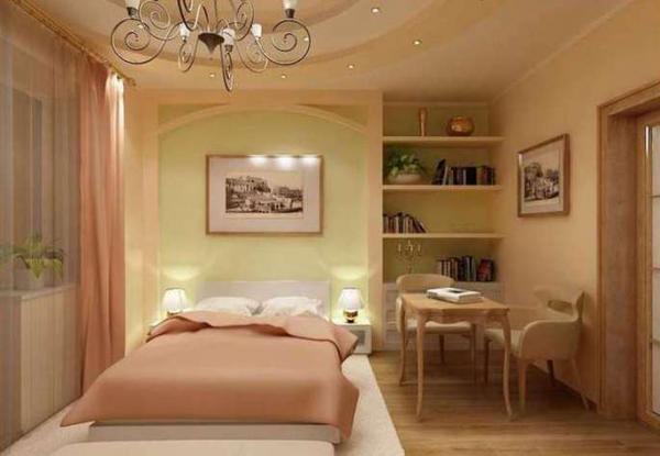В спальной комнате часто располагается и небольшой рабочий уголок.