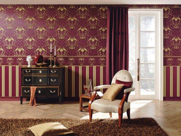 Вариант комбинирования обоев для просторной комнаты в стиле барокко. Линия горизонта на 1/3 высоты стены.