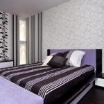 Вариант комбинирования обоев в спальне