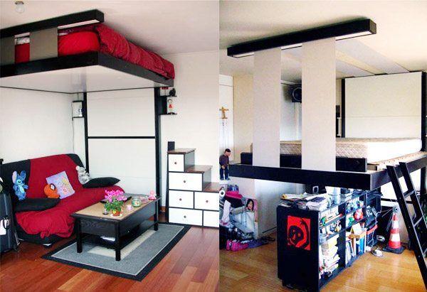 Варианты «потолочной» или «мобильной» кровати в помещении для сна и досуга.