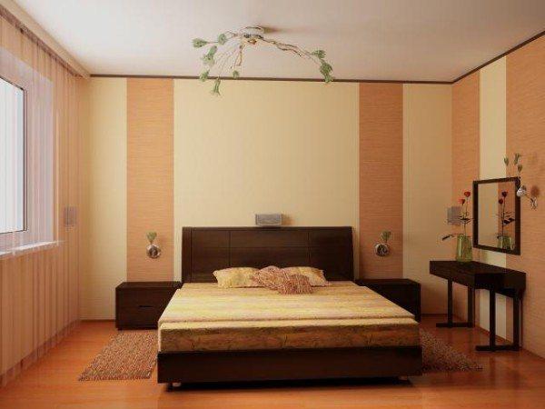 Вертикальными полосками выделена зона кровати и зона тумб.