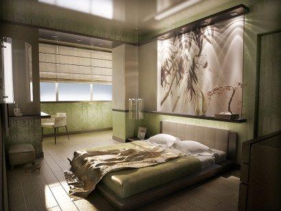 Вставка с подсветкой над изголовьем кровати