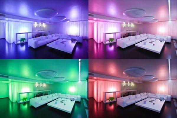 Выбор цвета освещения кардинально меняет весь стиль интерьера комнаты