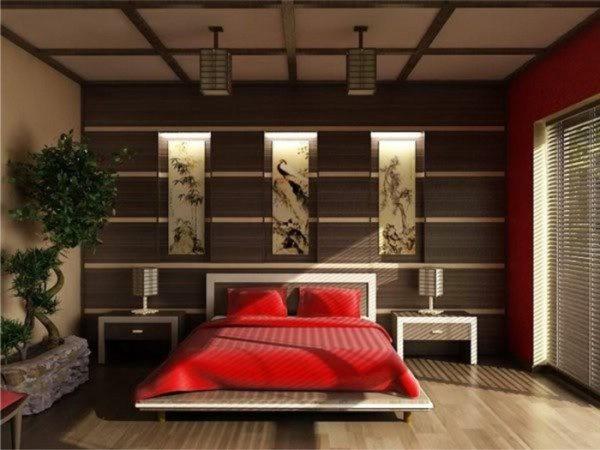 Яркие цвета текстиля и контрастные декоративные вставки выглядят очень стильно в сочетании с отделкой под дерево