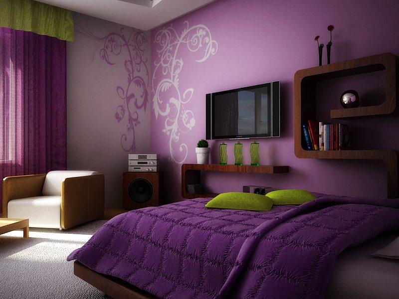 Зеленый и фиолетовый дизайн спальни придаст интерьеру таинственность и величие.