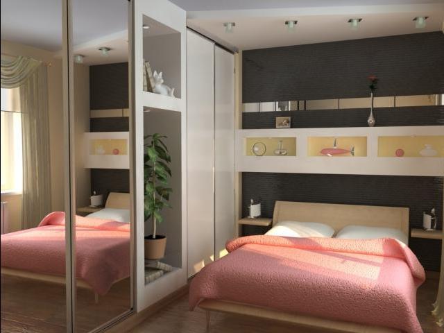 Зеркальные дверцы шкафа зрительно увеличивают пространство комнаты.