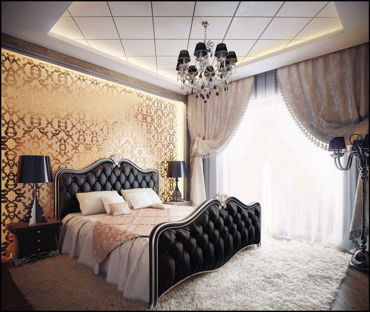 Золотая стена с замысловатым узором и подсветкой главная «изюминка» этой спальни