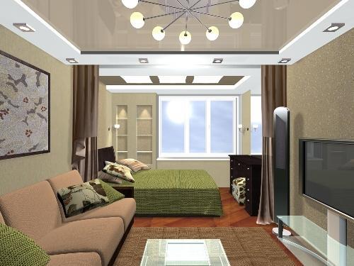 Зонирование гостиной-спальни при помощи занавесей.